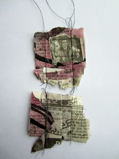 'Stitch Therapy', painting, ripping, screwing up, manipulating, folding, stitching, experimenting  by Emma Parker