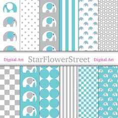 Turquoise Gray Elephant Digital Paper Scrapbook Background - patterns aqua blue grey gray baby boy scrapbooking 12x12