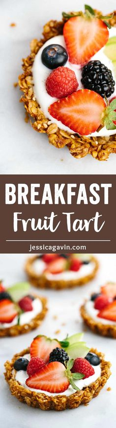 Breakfast Granola Fruit Tart with Yogurt Recipe - Customize your favorite fillings and toppings in the crunchy granola crust!  via @foodiegavin