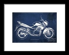 Suzuki Inazuma 250 2012 Blueprint, Christmas Gift For Bikers, Blue Background Framed Print by Pablo Franchi.  All framed prints are professionally printed, framed, assembled, and shipped within 3 - 4 business days and delivered ready-to-hang on your wall. Choose from multiple print sizes and hundreds of frame and mat options.