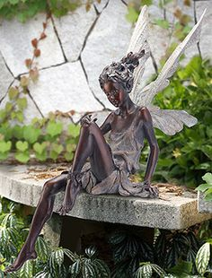 Azray - Bronze Color - Sitting Fairy Statue - Ships Separately