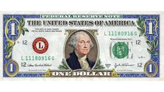 Colored dollar bill