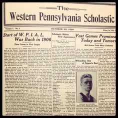 The first issue of The Western Pennsylvania Scholastic, published October 22, 1920