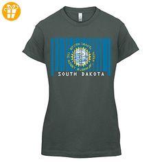 South Dakota / Süd-Dakota Barcode Flagge - Damen T-Shirt - Dunkelgrau - XXL (*Partner-Link)