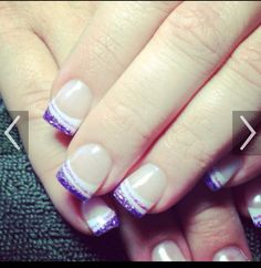Purple glitter on solar nails. So cute!