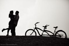 black and white silhouette picture the day of wedding with tandem bike and use for thank you cards??