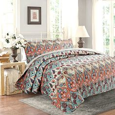 DaDa Bedding Multi Floral Paisley Garden Party Reversible Bedspread Quilt Set, King, 3-Pieces Searching bedroom furniture ideas?  http://aluxurybed.com/product/dada-bedding-multi-floral-paisley-garden-party-reversible-bedspread-quilt-set-king-3-pieces/