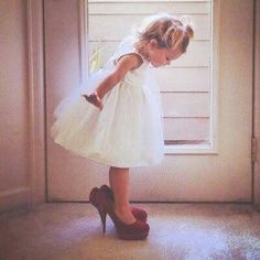 Little girl in mommy's shoes. Make them designer shoes to be fancy fancy - This would be so cute to take of abbey in Kyndall's shoes when she grows up
