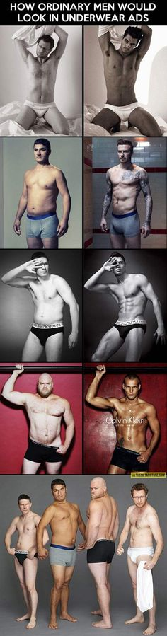 Ordinary men in underwear ads