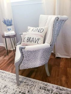 Let me preface this post with some encouragement - I have a middle school level of sewing experience. That's right - I took Home Economics way back in the day,… Diy Chair, Chair Fabric, Wooden Kitchen Signs, Cane Back Chairs, Diy Concrete Countertops, King Size Headboard, Upholstery Tacks, Chair Makeover, Furniture Makeover
