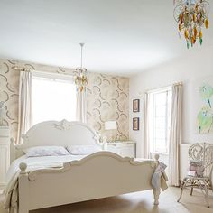 Bedroom Ideas: Simple Pale Bedroom with Classic White Bed also Clean White Curtain plus Rattan Classic Chair and White Nightstand