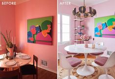The Pink Dining Room Erik Designed BEFORE He Found His Apartment - Emily Henderson #pink #diningroom #homedesign #interiors Pink Dining Rooms, Dining Room Paint Colors, Dining Room Art, Dining Room Table Centerpieces, Decorating Small Spaces, Apartment Design, House Design, Interiors, Decor Ideas