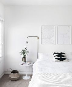 How to Achieve a Minimal Scandinavian Bedroom Styling Artwork  With Framebridge Walls artwork