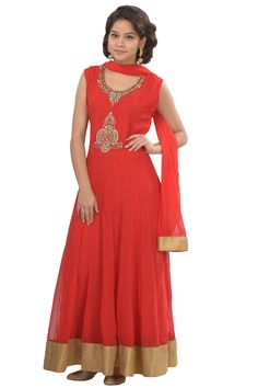 #Kalanjali presenting #Exclusive #Salwar suit #collection#Growing red tone georgette designer anarkali suit is enhanced with crystal/gold embroidery work and tissue embellished daman add gorgeous charm. Matching silk churidar retained plain with dupatta.