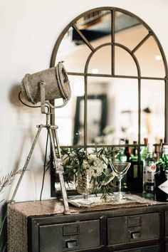 Industrial farmhouse decor is beautiful. Where industrial decor can feel cold yo. - Industrial farmhouse decor is beautiful. Where industrial decor can feel cold you can learn how to - French Industrial Decor, Industrial Mirrors, Vintage Industrial Furniture, Industrial Living, Industrial Table, Industrial Bedroom Decor, Industrial Design, Industrial Decorating, Warm Industrial