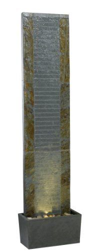 Kenroy Home #50619SL Lane Indoor/Outdoor Floor Fountain in Natural Slate Finish by Kenroy Home. $495.00. Floor fountain. Lighted fountain. Indoor/outdoor fountain. Natural slate finish. 64-Inch height, 16-Inch width, 8-Inch extension. Kenroy Home Lane indoor/outdoor floor fountain comes in a natural slate finish. These tall and slim fountains showcase 64 inches of flowing water. Water tranquilly flows over each piece of natural slate, giving a serene aura to any room.