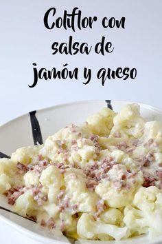 Coliflor con salsa de jamón y ques