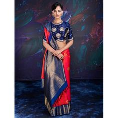 Orange and Blue Banarasi Silk Saree with Weaving Work