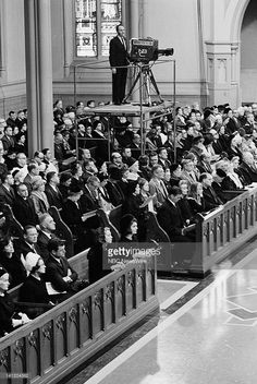 John F. Kennedy Memorial Mass -- Aired -- Pictured: (front pew l-r) Rose Fitzgerald Kennedy (4th from left), Sen. Ted Kennedy, Joan Bennett Kennedy, former First Lady Jacqueline Kennedy (second pew) Eunice Kennedy Shriver (behind Rose) during a memorial mass for the late President John F. Kennedy at Cathedral of the Holy Cross in Boston, MA on Jan. 19, 1964 less than eight weeks after he was assassinated -- Photo by: NBC NewsWire