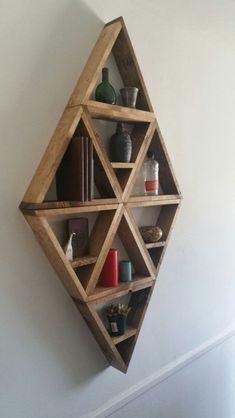 Large Diamond Wooden Shelves | Etsy #diywoodwork