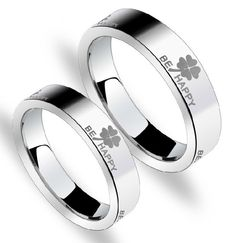 Tungsten Women or Men Wedding Engagement Ring Band Set be Happy M78