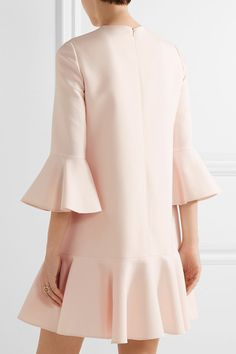 Valentino - Fluted Wool And Silk-blend Mini Dress - Pastel pink - IT42