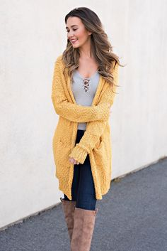 Charlize Open Front Cardigan (Mustard)