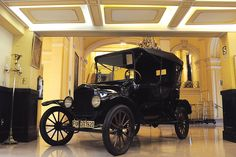 Model T Ford in the lobby of the Gran Hotel Bolivar, Lima