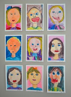 """I recently did small paintings with the kids, which I wrote about here. One of their """"assignments"""" was to paint a self-portrait. I helped them a little bit by drawing the proportions for them lightly in pencil. This way, they all had the same starting point. I had them use a black sharpie to draw …"""