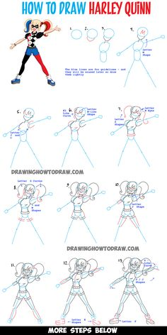 how to draw harley quinn step by step easy