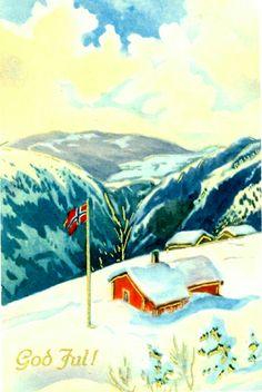 Julekort med glitter brukt 1951 Christmas Postcards, Christmas Cards, Gnomes, Norway, Glitter, Painting, Christmas E Cards, Xmas Cards, Painting Art
