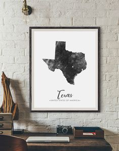 Map Wall Art, Map Art, Wall Art Prints, Texas State Map, Unique Poster, Rustic Art, Typography Prints, Grunge, Wall Art Designs