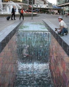 3D Drawings On Pavements That Come To Life And Reveal Worlds Beneath - DesignTAXI.com