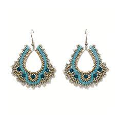 in den Farbtönen Gold, Silber und Blau Gold Silber, Crochet Earrings, Accessories, Jewelry, Fashion, Blue, Moda, Jewlery, Jewerly