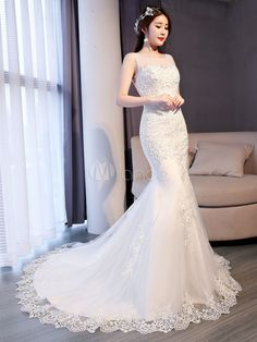 3e64d4a492 Mermaid Wedding Dresses Lace Ivory Beading Sleeveless Bridal Dress With  Train