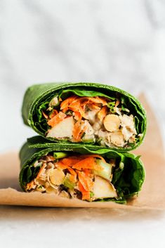 Vegan Pecan Apple Chickpea Salad Wraps with a creamy maple dijon tahini dressing. Takes 15 minutes to make and no cooking involved, making this a great recipe for healthy lunches and parties! Enjoy the salad in your favorite wrap, on toast, as-is or even in lettuce cups! #vegan #salad #vegansalald #chickpeawrap Salat Wraps, Caesar Salat, Cobb, Tortillas, Chickpea Salad, Tahini Dressing, Peanut Dressing, Avocado, Great Recipes