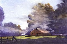 Smoke and Haze by Larry Cannon Watercolor ~ 10 x 14