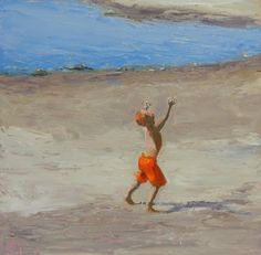 Oh, Happy Day!  12x12 inch Oil painting of little redhead boy on the beach!