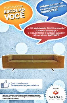Quer esse lindo sofá design na sua sala? acesse: facebook.com/vargasconstrutora e participa da nossa promoção!