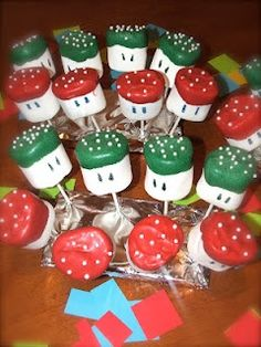 Super Mario Brothers Mushroom Marshmallows.  Birthday Treat to take to school or for a party.
