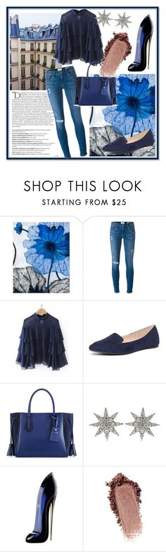 """Blue paths💙🔷💙"" by neneka14 ❤ liked on Polyvore featuring Grandin Road, Balmain, Frame, Dorothy Perkins, Longchamp, Bee Goddess and Carolina Herrera"