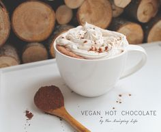 A healthier version of your typical hot chocolate. This vegan hot chocolate is delicious and packed with health benefits. Vegan Hot Chocolate, Cacao Beans, Vegan Vegetarian, Healthy Eating, Nutrition, Drinks, Tableware, Blog, Life