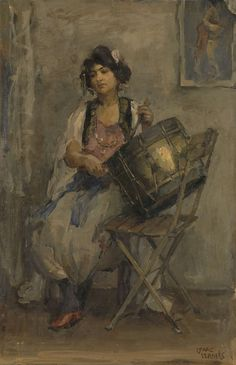 De trommelaarster, Isaac Israels, ca. 1890 - ca. 1910