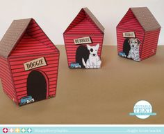 Dog House Box Kit - EDITABLE Text to Personalize + 15 Dog Cutouts, party favor box or gift card holder... $7.99