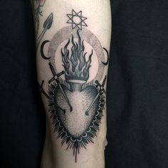 Black and grey Sacred Heart tattoo by Alessandro Florio #tattoo