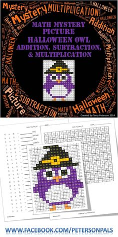This Halloween Owl is FREE! It has four different levels (color by number, addition, subtraction & multiplication). The multiplication page also works on identifying prime numbers. Enjoy the Freebie!