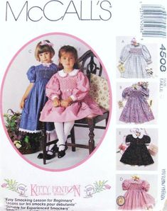 McCALL'S Sewing Pattern 4508 6 Styles - Children / Girls' Smocking Dress & Transfer (size by Kitty Benton Gourmet Sewing Smocking Patterns, Mccalls Sewing Patterns, Baby Patterns, Girly Girl Outfits, Little Girl Dresses, Vintage Dress Patterns, Clothing Patterns, Smocks, Baby Layette