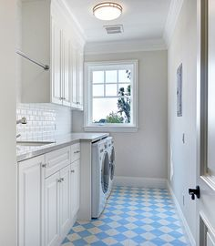 Laundry Room. Narrow Laundry Room. This laundry room layout is perfect for a second floor. It doesn't take much space and it has everything you might need, from storage to folding space.  Narrow Laundry Room Layout. Narrow Laundry Room Cabinet Ideas. #LaundryRoom #NarrowLaundryRoom