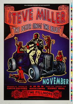 Steve Miller - Fillmore Auditorium (San Francisco, CA) Nov 1995 Pop Posters, Band Posters, Film Posters, Norman Rockwell, Festival Posters, Concert Posters, Fillmore Auditorium, Fillmore East, Steve Miller Band