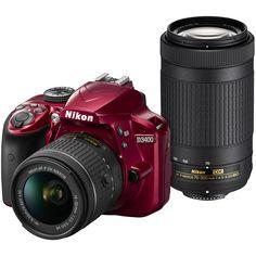 Nikon D3400 Digital SLR Camera & 18-55mm VR & 70-300mm DX AF-P Lenses (Red)